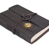 Dark Brown Leather Journal with Dragonfly Cameo Bookmark - Ready to ship -