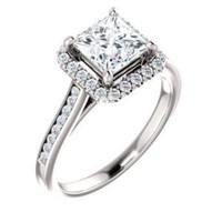 Cubic Zirconia Engagement Ring- The Star (Customizable Princess Cut Design with Halo, Round Channel Band and Floating Peekaboo Accents)