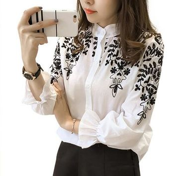 Embroidered Floral and Leaves Linen Cotton Blouse
