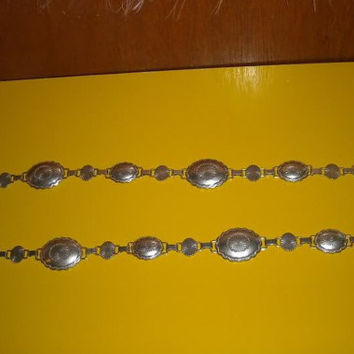 Womens Vintage  Lauren Silver Toned Metal Concho Long Chain Belt Closes Awkwardly