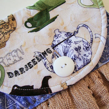 Button-Top Hand Towel - Quilted Hanging Dish Towel - Gifts Under 20 - Custom Towel - Tan Kitchen Towel - Short & Stout