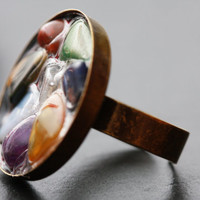 Multicolor Semi Precious Tumbled Gemstone Mosaic Collage Fashion Cocktail Ring