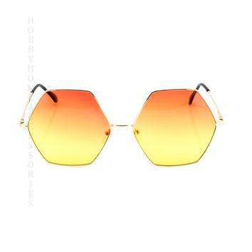 2 PAIR NEW TREND Hippie Oversized Octagon Style Gradient Color Lens SUNGLASSES