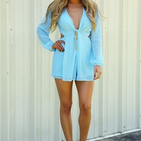 Cut Out That Sass Romper: Powder Blue - Hope's Boutique