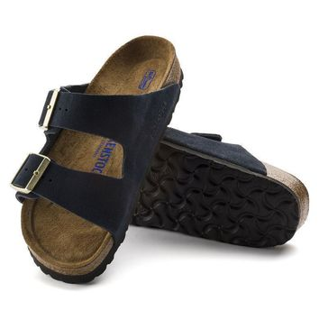 Sale Birkenstock Arizona Soft Footbed Suede Leather Navy 1008059 Sandals