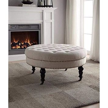 Isabelle Natural Round Tufted Ottoman