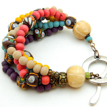 African Sandcast, Wood Beads and Indonesian Glass Beads Bracelet