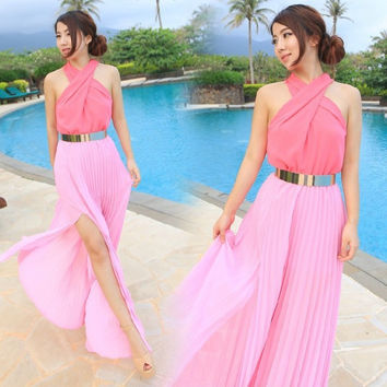 Halter Sleeveless Cross Chiffon Belted Pleated Maxi Slit Dress