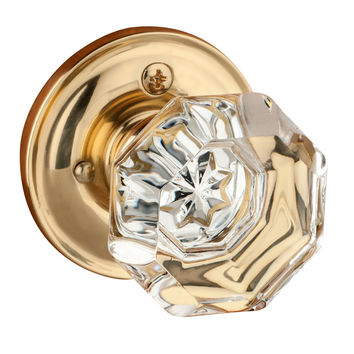 Dynasty Hardware Classic Rosette Crystal Style Door Knob Privacy - Bed / Bath Function Polished Brass