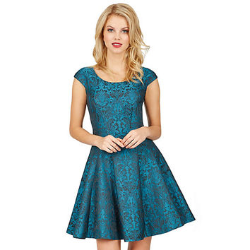 REGAL TEAL BROCADE DRESS: Betsey Johnson