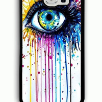 Samsung Galaxy S6 Case - Rubber (TPU) Cover with Big Eye Watercolor Rubber case Design