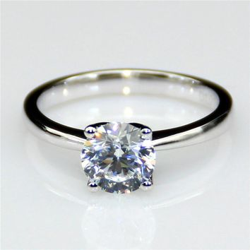 14KT White Gold Engagement 2 Carat Lab Diamond Colorless Floral Solitaire