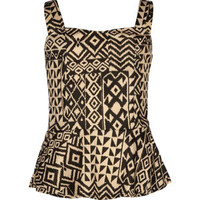 FULL TILT Ethnic Print Girls Ponte Peplum Top