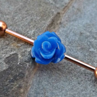 Blue Rose Gold Industrial Barbell 14ga Body Jewelry Ear Jewelry Double Piercing
