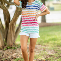 Bold And Bright Personalities Top, Blue-Multi