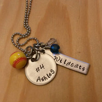 Hand Stamped softball Necklace - Travel ball Necklace - with Team Colors - softball Team gift