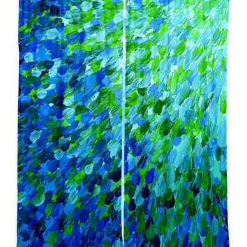 OCEAN Splash Teal Blue Green Waves Fine Art Window Curtains Multiple Size Abstract Painting Decor Bedroom Kitchen Lined Unlined Woven Fabric