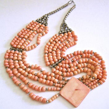 Coral Angel Skin Necklace, 5 Multi Strand, Ethnic Handmade, Vintage