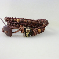 Lucky Elephant Wood Multi Wrap Bracelet