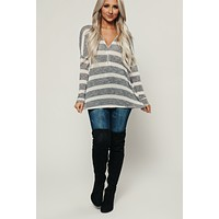 Zip It Long Sleeve Top (Charcoal/Ivory)