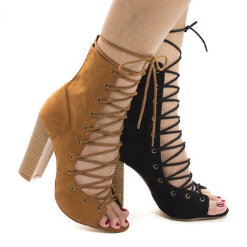 Sage24 Olive F-Suede by Liliana, Open Toe Corset Lace Up Leg Wrap Stacked Block High Heel Booties