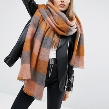 ASOS Oversized Long Fluffy Check Pastel Scarf at asos.com