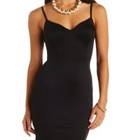 Plunging Sweetheart Bodycon Dress by Charlotte Russe - Black