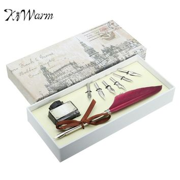KiWarm Red Vintage Quill Feather Dip Pen Gift Set With Writing Ink
