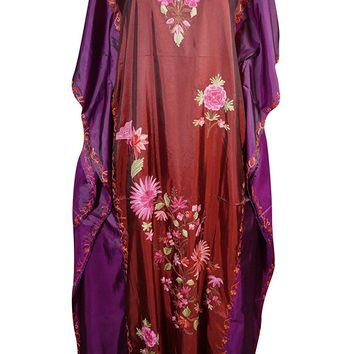 Mogul Womens Caftan Stylish Cruise Silk Embroidered Dual Shaded Ramini Kaftan: Amazon.ca: Clothing & Accessories