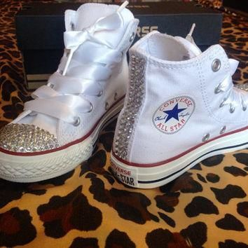 children s youth high top rhinestone converse with ribbon shoelaces