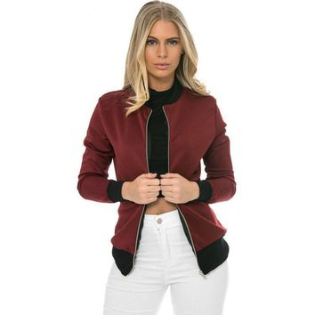 Autumn Brief Cool Basic Bomber Jacket Women Color Block Patchwork Casual Slim Jacket Coat Zipper Outwear