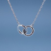 Double Circle Ring Necklace in Silver