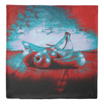 Psychedelic Red Blue Fruits Duvet Cover