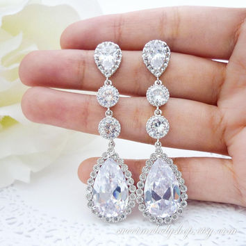 Bridal Earrings Wedding Jewelry Bridesmaid Jewelry Clear White LUX Cubic Zirconia Teardrop Earrings Long Dangle Diamond Look Extra Large