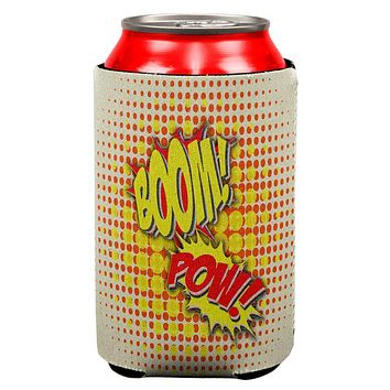 Boom Pow Vintage Comic Book All Over Can Cooler