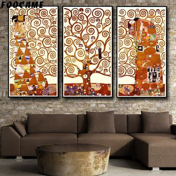 FOOCAME Artwork Gustav Klimt Tree Of Life Posters and Prints Art Canvas Painting Modern Home Decor Wall Pictures For Living Room