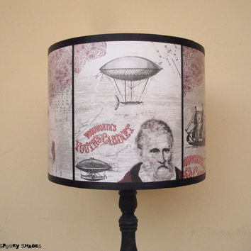 Time Travel lamp shade lampshade - lighting, steampunk decor, victorian decor, whimsical, shabby chic, hot air balloon, nautical, mermaid
