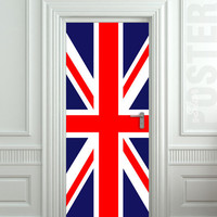 "Door STICKER British flag UK banner Great Britain England English London mural decole film self-adhesive poster 30x79""(77x200 cm)"
