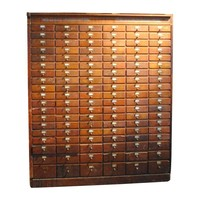 Pre-owned Large Wood Apothecary Small Storage Cabinet