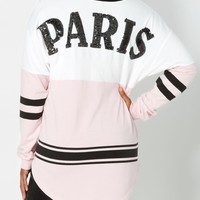Varsity Sparkly Paris Sweatshirt | Graphic Long Sleeve Tees | rue21