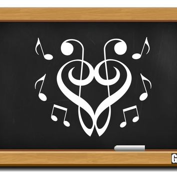 Treble Clef Heart & Music Notes Decal - C2433