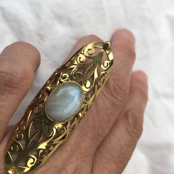 Vintsge Large Rainbow Moonstone stone Golden Brass Filligree ring