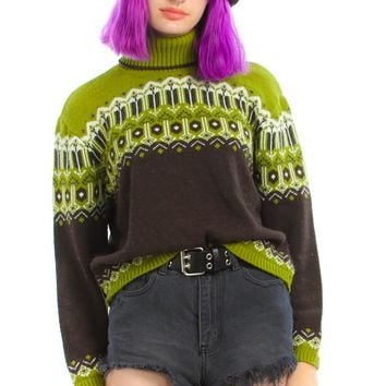 Vintage 90's It's Our Time Olive Turtleneck - One Size Fits Many