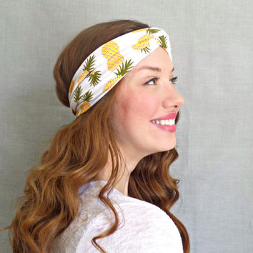 Pineapple Turban Headband Yellow 50s Headwrap Yoga Headband Womens Hair Accessories