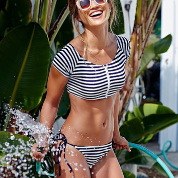 Cute blue stripe zipper two piece bikini swimwear bath suit