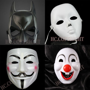 8pcs/set Halloween Scary Skull Face Scream Batman Clown Mask Masquerade Party Performance Props Mask Cosplay Costume Fancy Dress