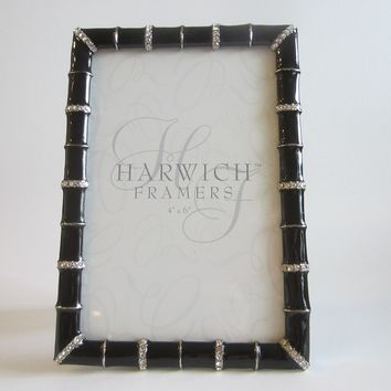 Harwich Framers Black Enamel Photo Frame Decorated White Rhinestones