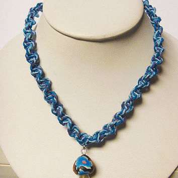 Shades of Blue Hemp Necklace with Fimo Glass Mushroom handmade macrame jewelry    hippie  unisex