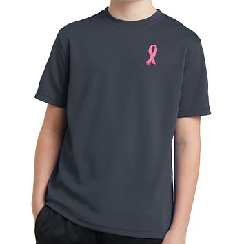 Buy Cool Shirts Kids Breast Cancer Tee Embroidered Pink Ribbon Dry Wicking Shirt