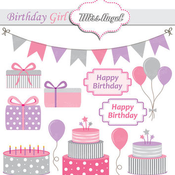 Baby Girls Birthday Party Clipart. 12 Digital Baby Party Printable Illustrations. Gift boxes, Balloons, Birthday cakes, Pink, Purple, Grey